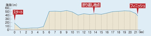浜松シティマラソンの高低差