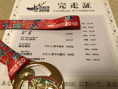 奈良マラソンの完走証とメダル