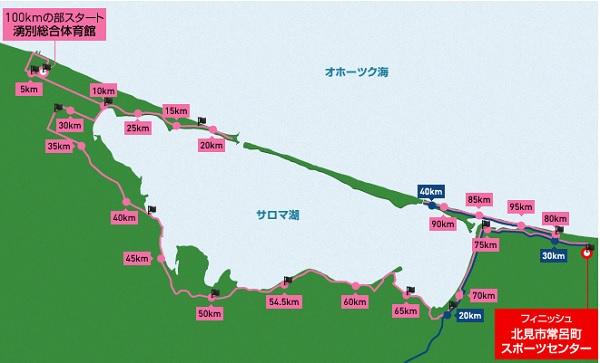 サロマ湖100kmのコース